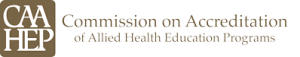 Text that reads CAAHEP Commission on Accreditation of Allied Health Education Programs